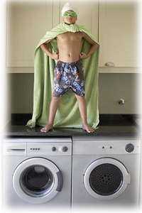 Kid about to go into the Dryer