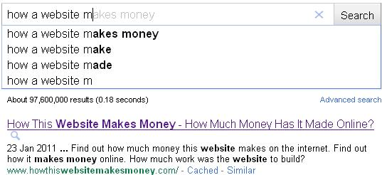How a website makes money Google results