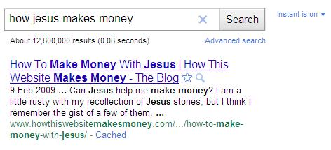 How Jesus Makes Money Search Results