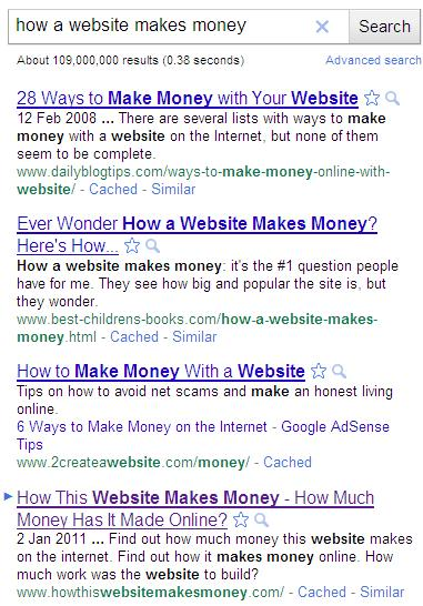 How a website makes money search results